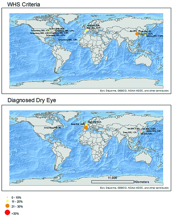 2 prevalence map according to the whs diagnostic criteria upper panel and self report of clinically diagnosed dry eye lower panel